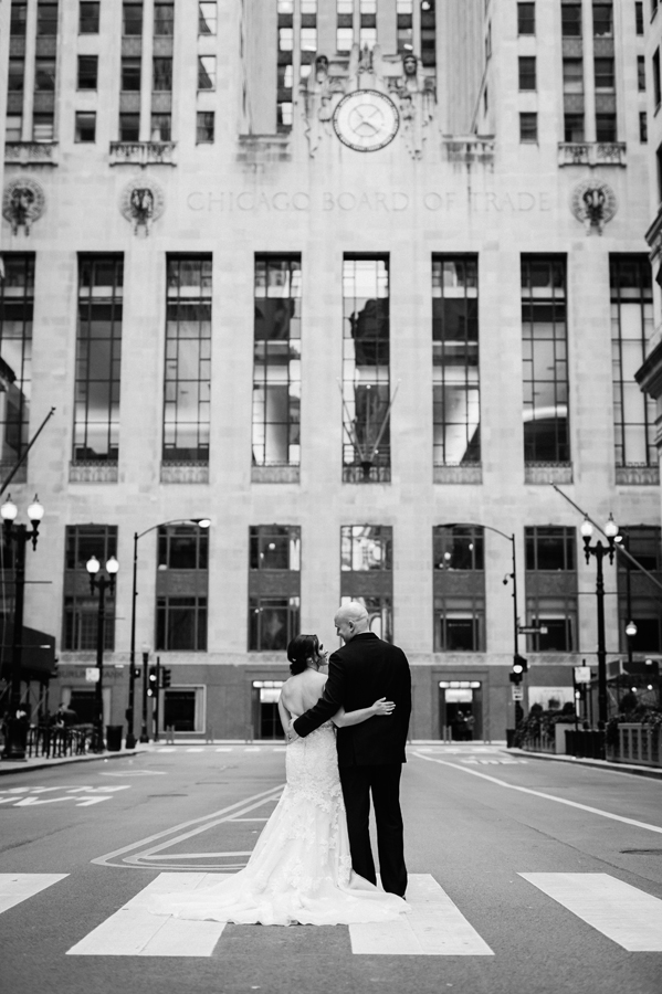 Bride and groom at the Chicago Board of Trade.