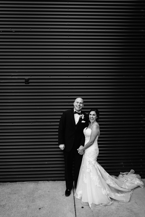 Bride and groom at Ignite Glass Studio.