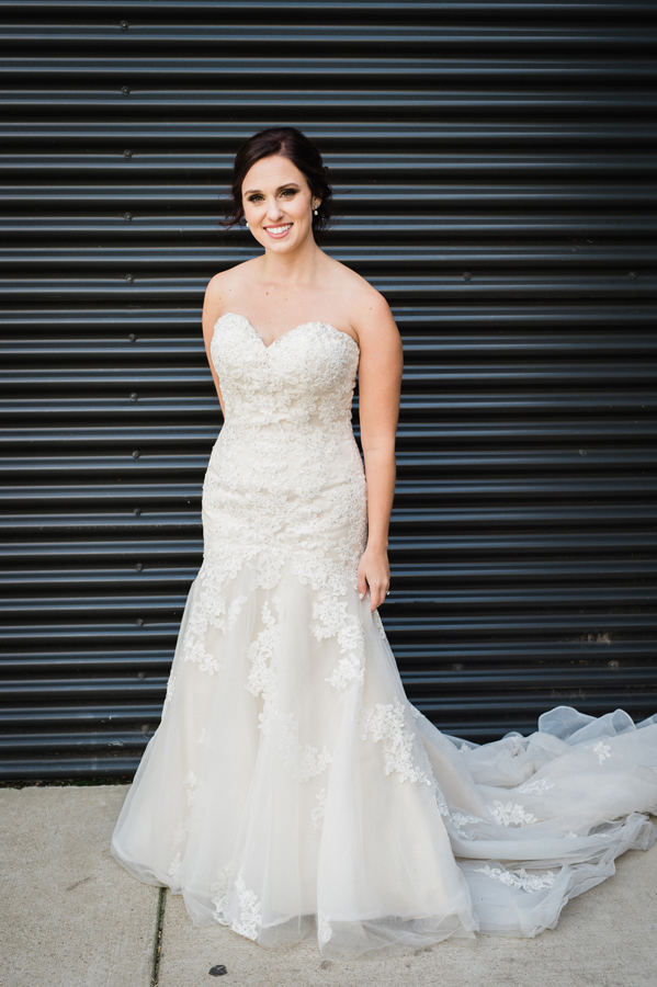 Portrait of bride at Ignite Glass Studio.