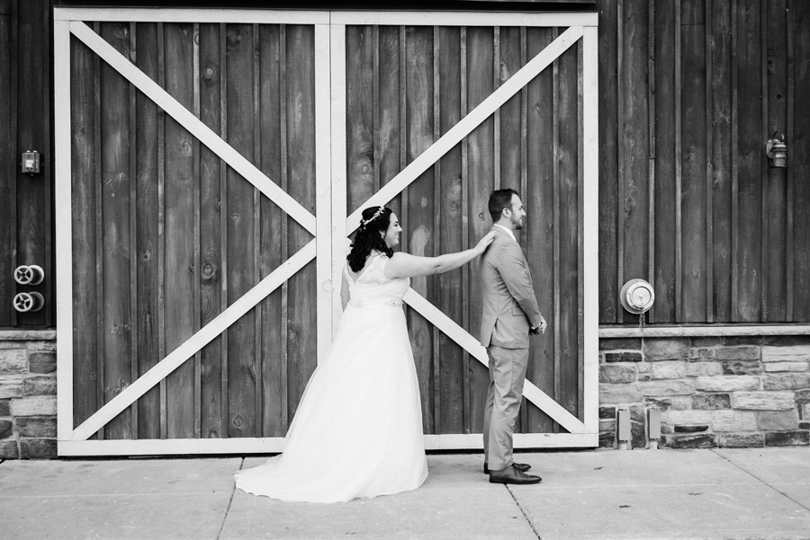 Bride and groom first look.