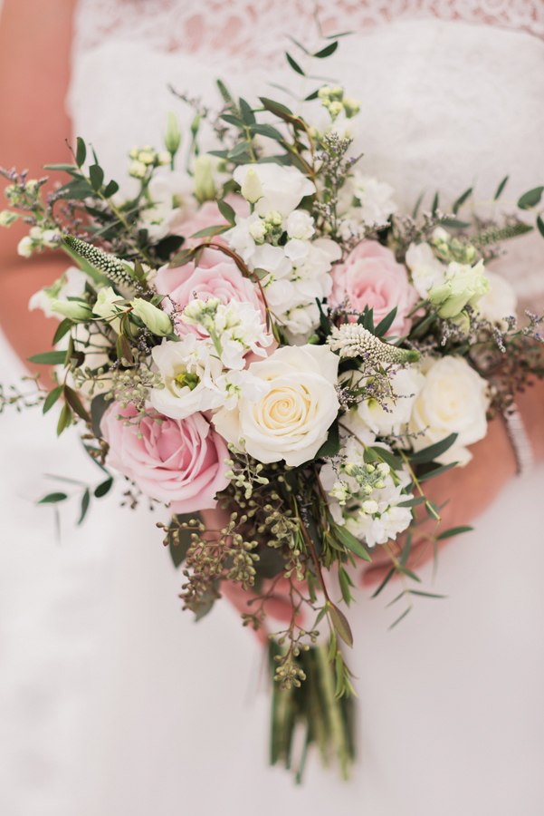 Detail shot of bridal bouquet.
