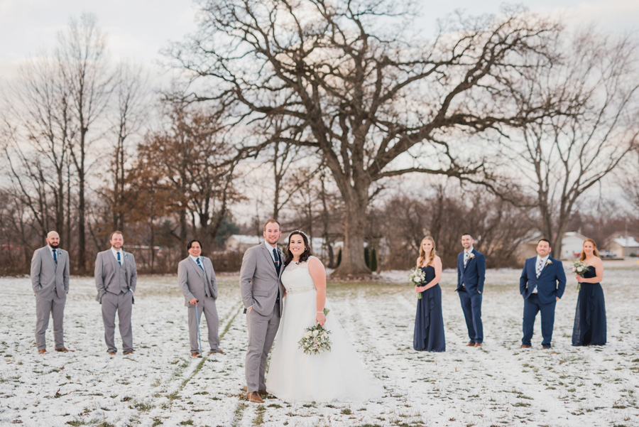 Bridal party in snow.