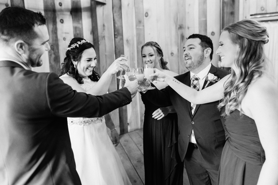 Bride and attendants toast.