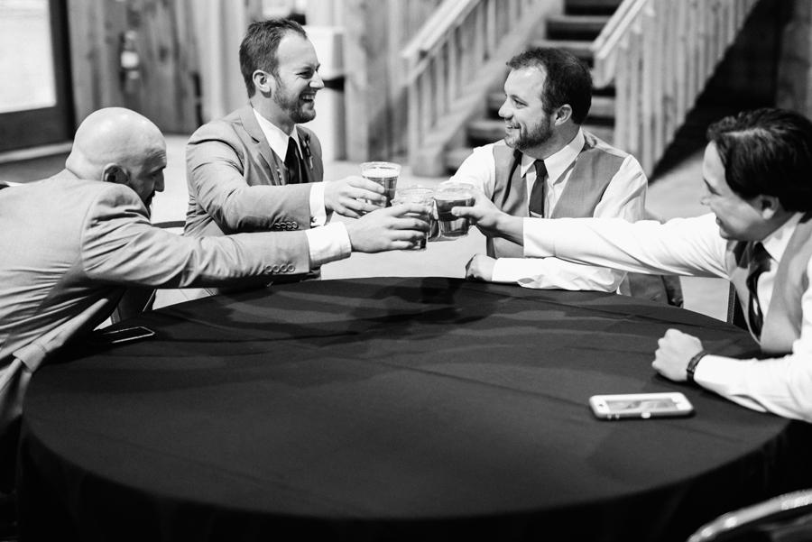 Groom and groomsmen toast.