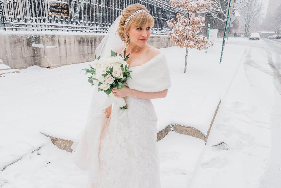 Bride in snow.