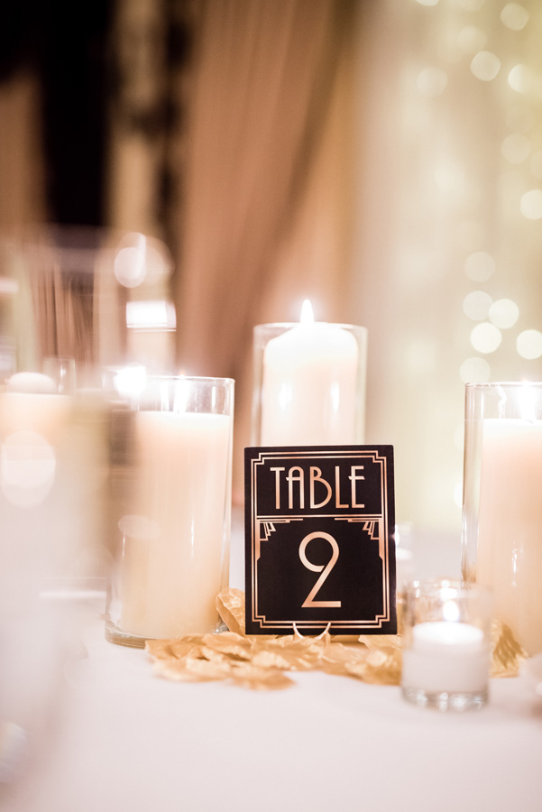 Wedding reception table centerpiece.