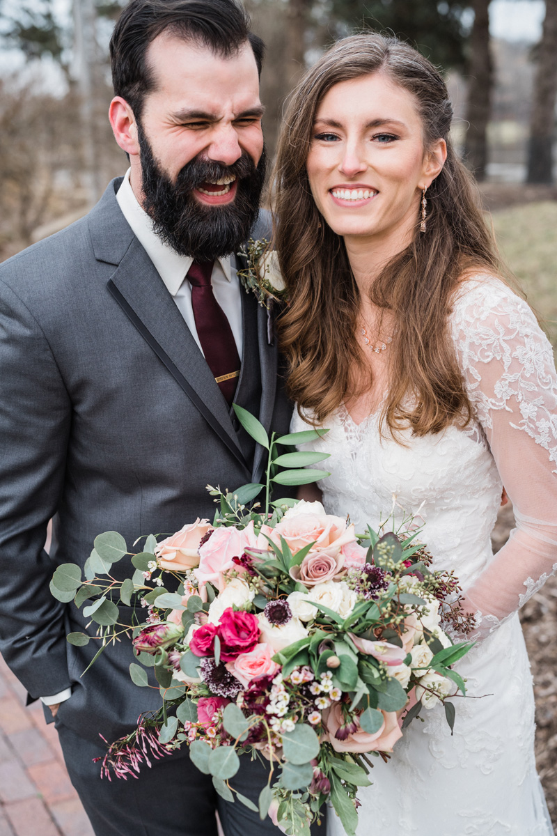 Bride and groom portrait.
