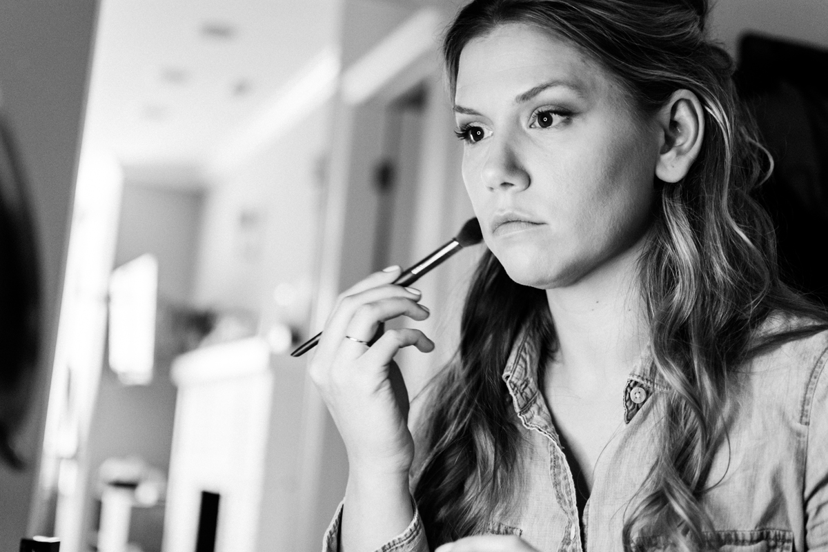 Bride getting her make-up done.