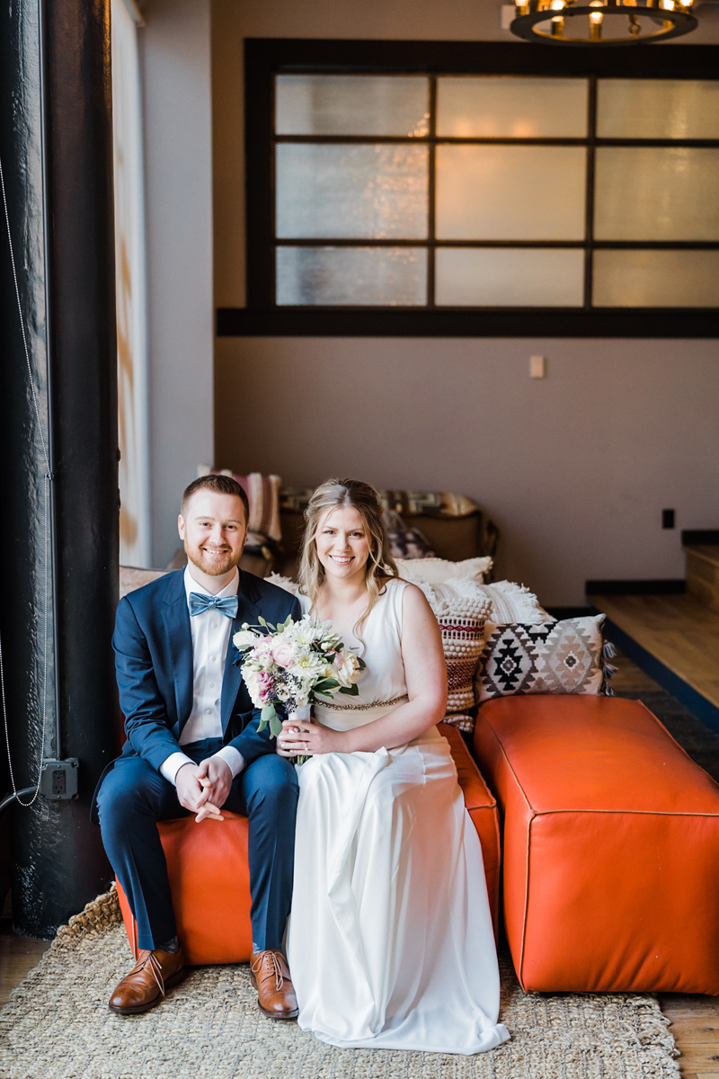 Bride and groom portrait at We Work.