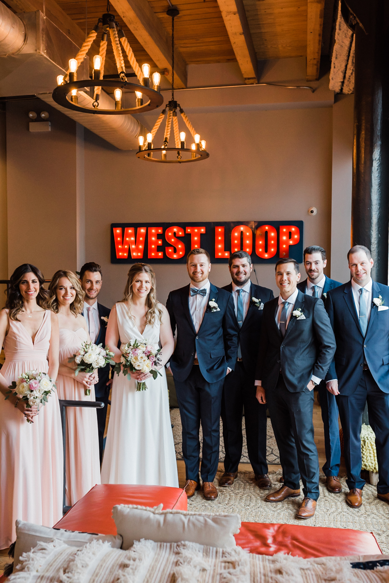 Bridal party portrait at We Work.