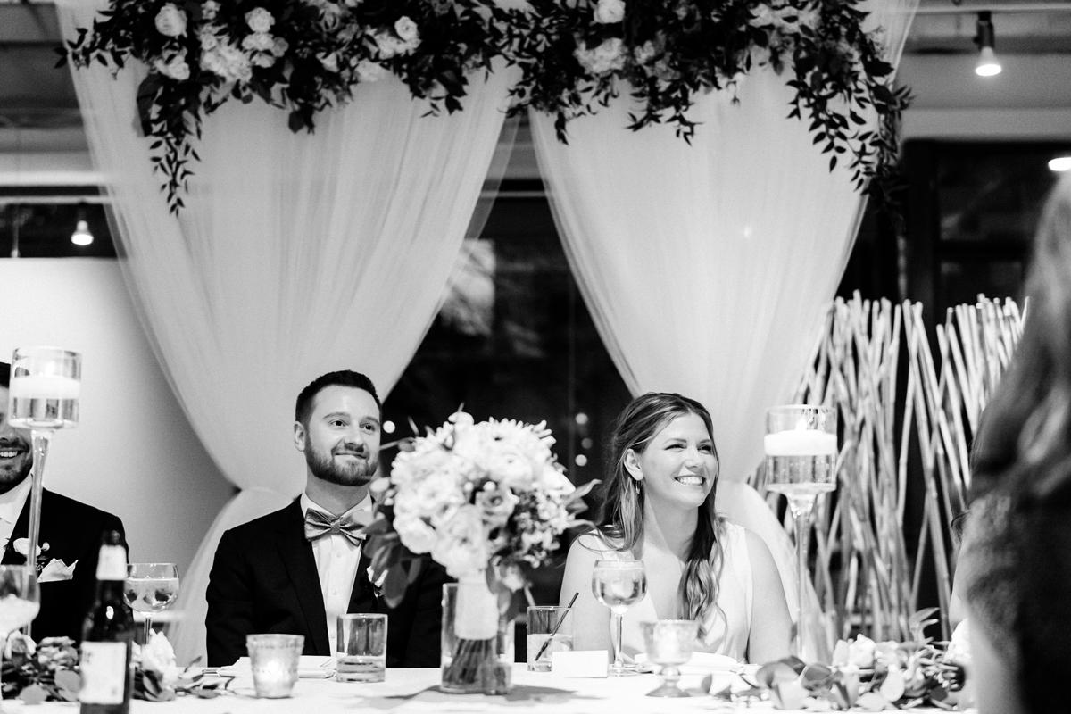 Wedding reception toasts.