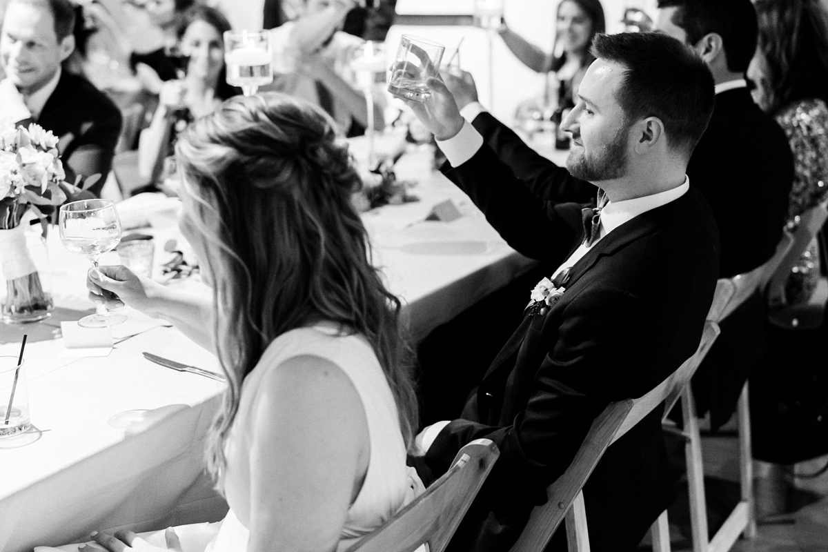 Wedding reception toasts.