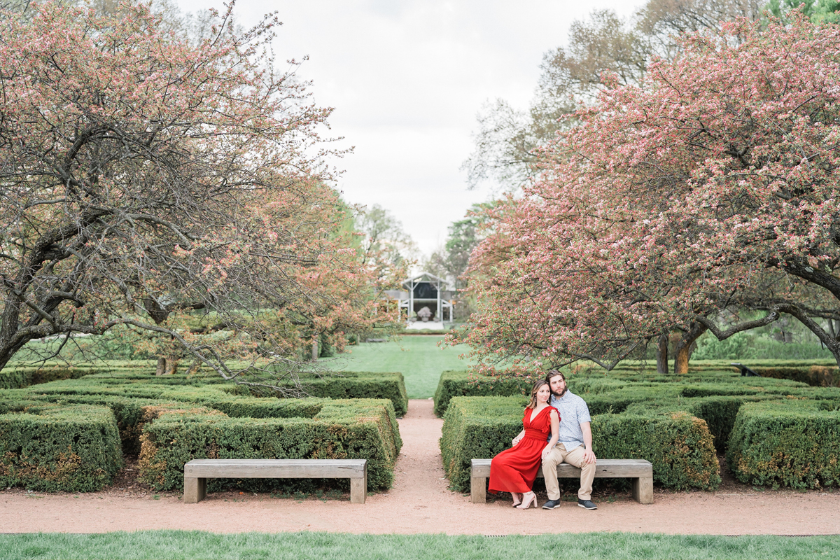 Morton Arboretum, Lisle, Illinois. Engagement photography by Two Birds Photography. Classic, low-key, and natural. Serving Chicago and the suburbs.
