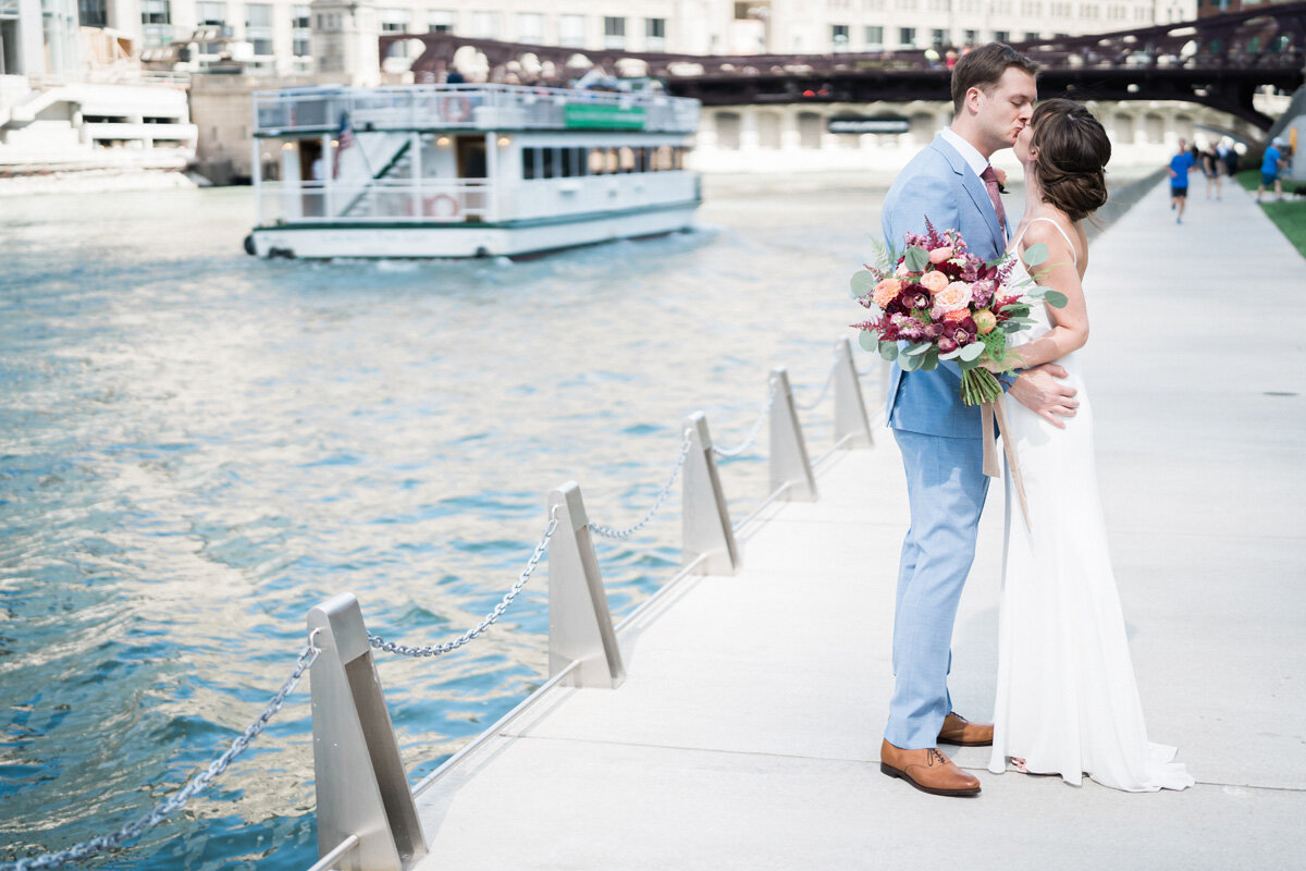 Beatnik on the River, Chicago, IL. Wedding photography by Two Birds Photography. Classic, low-key, and natural. Serving Chicago and the suburbs.