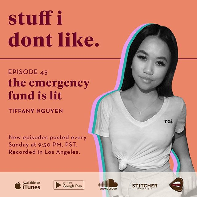 On this episode of the Stuff I Don't Like Podcast, I sit  down with social media marketing extraordinaire, Tiffany Nguyen. At  only 24, Tiffany has achieved success in the marketing and financial  sector and shares some of her tips with us. Key takeaways from this  episode:  1. The emergency fund is lit 2. Level up 3. One stream of income is never enough.  Follow Tiffany on Instagram @tiffnguyenn.