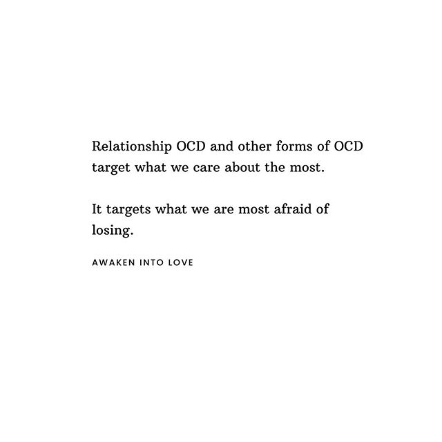 "But... for real. ⠀ Relationship OCD targets your partner because it is ultimately terrified of losing them. ⠀ I actually speak about this almost everyday to my clients. OCD will never go after something that you don't care about, which is why the themes of OCD target such meaningful things. ⠀ ⠀ Ultimately, it all comes down to the fear of losing control, which is why it targets your relationship.⠀ ⠀ Why? The short answer: It's scared of losing your relationship.⠀⠀ ⠀ It's scared of losing what it cares about the most. ⠀ ⠀ The obsessions and compulsions? It's a false illusion of control and certainty to ""keep"" what we care about. ⠀ ⠀ Because if we check once more, if we avoid again, if we confess again (says fear, anxiety, shame, guilt and trauma)... then we get a sense of relief. A temporary relief that says all is safe and that we won't lose them. ⠀ ⠀ The first tactic to break apart this pattern of illusion is 👉🏼 awareness. You cannot break a pattern until you are aware 👈🏼 Once we start to become aware of the patterns, the habitual responses, the compulsive behavior, then we are on the road of walking toward the door of freedom and toward what we've been wanting all along... our partner."
