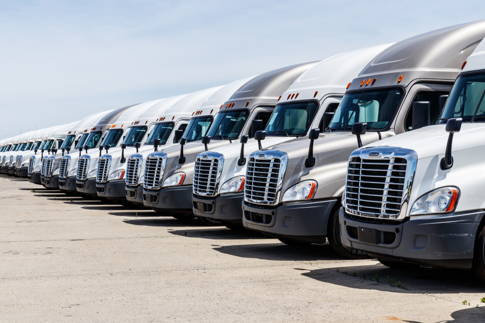 CIRCA JUNE 2018: FREIGHTLINER SEMI TRACTOR TRAILER TRUCKS LINED UP FOR SALE. FREIGHTLINER IS OWNED BY DAIMLER AG TRUCKS III.  (PHOTO: SHUTTERSTOCK)