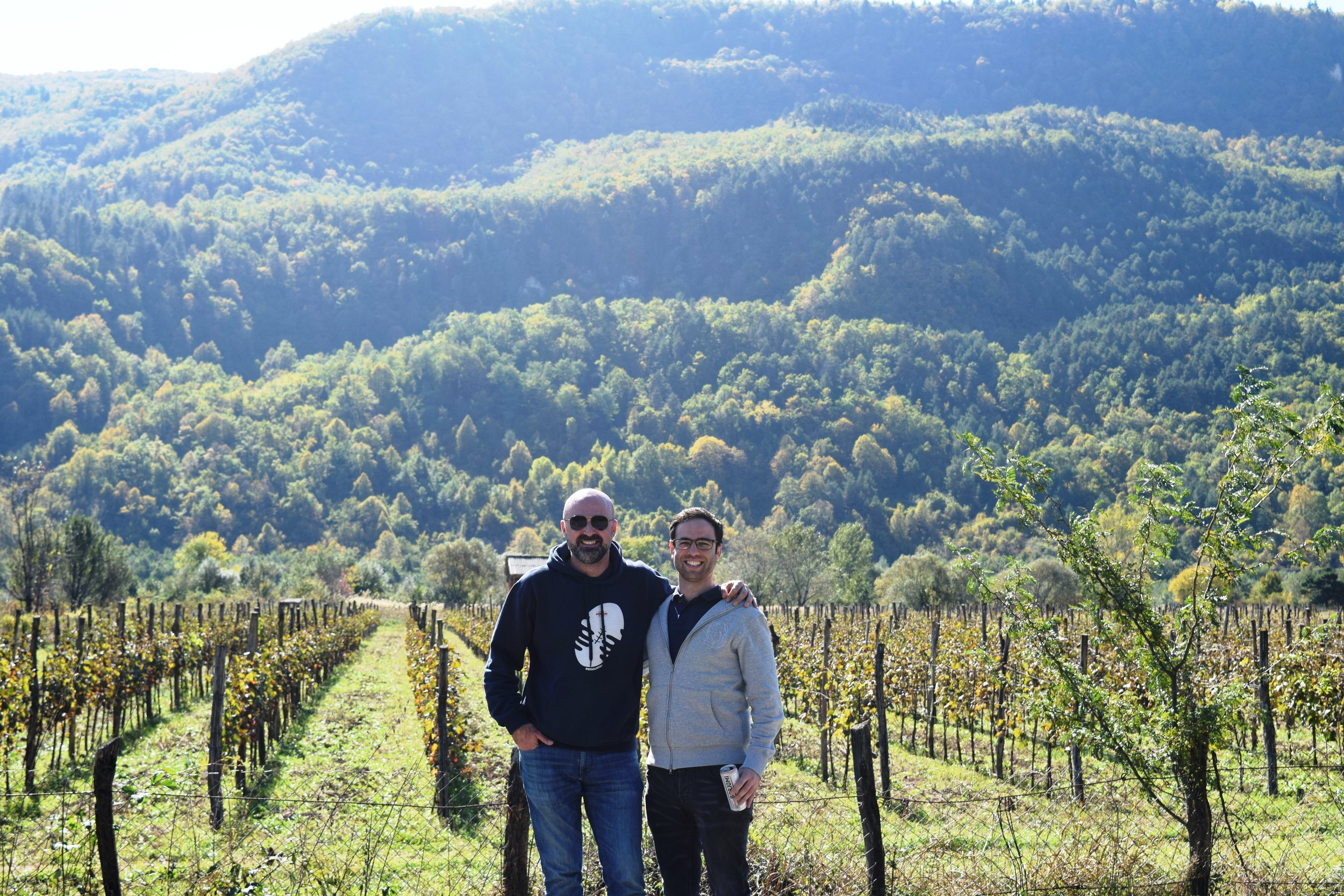 Here we are at the beautiful vineyard of Royal Khvanchkara in Ambrolauri, Western Georgia