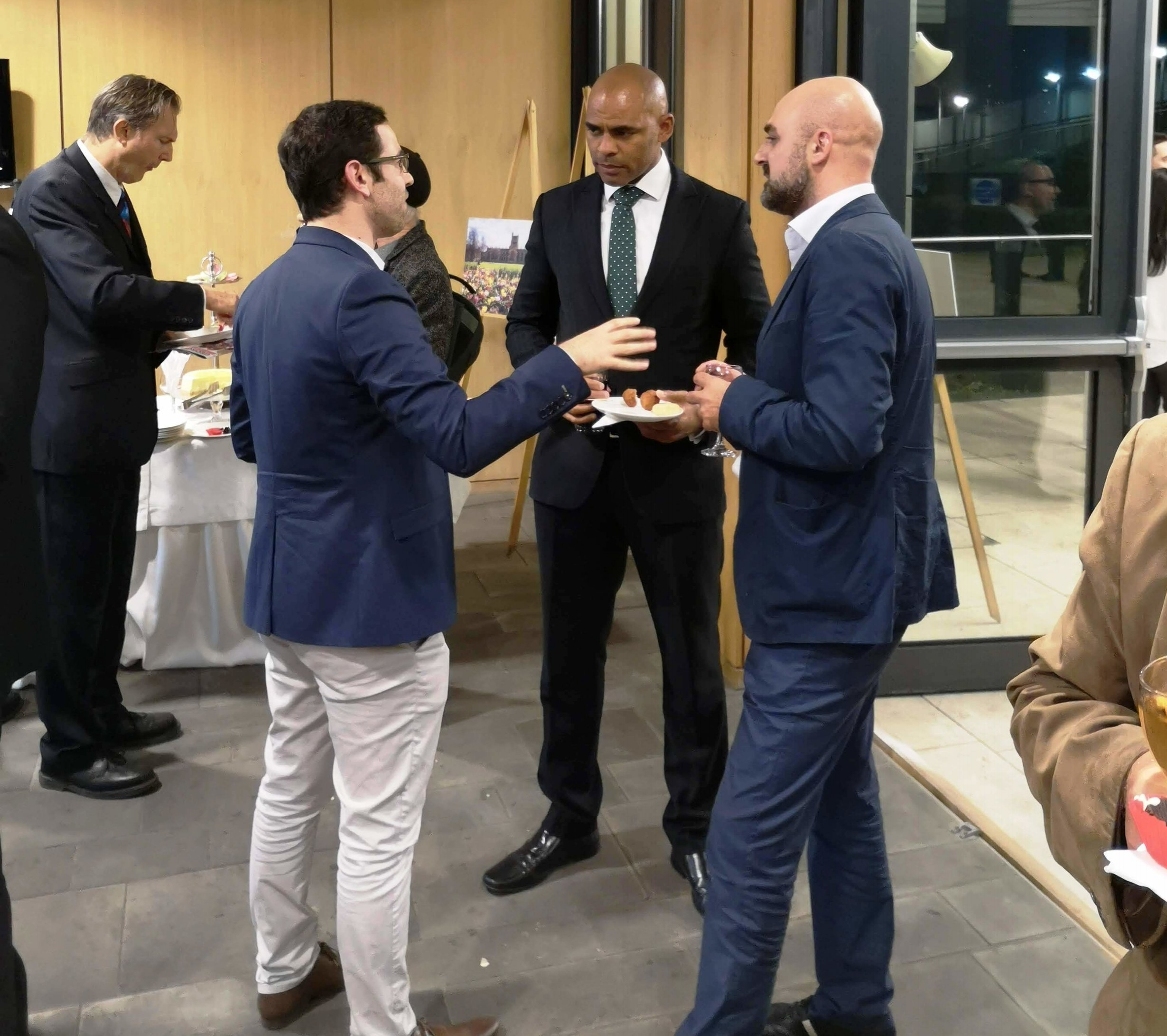 Anzor and I talking with Bristol Mayor Marvin Rees at the British Embassy, Tbilisi