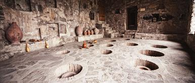A marani or cellar in which Georgian natural and organic qvevri wines are fermented. This process dates back over 8000 years ago.