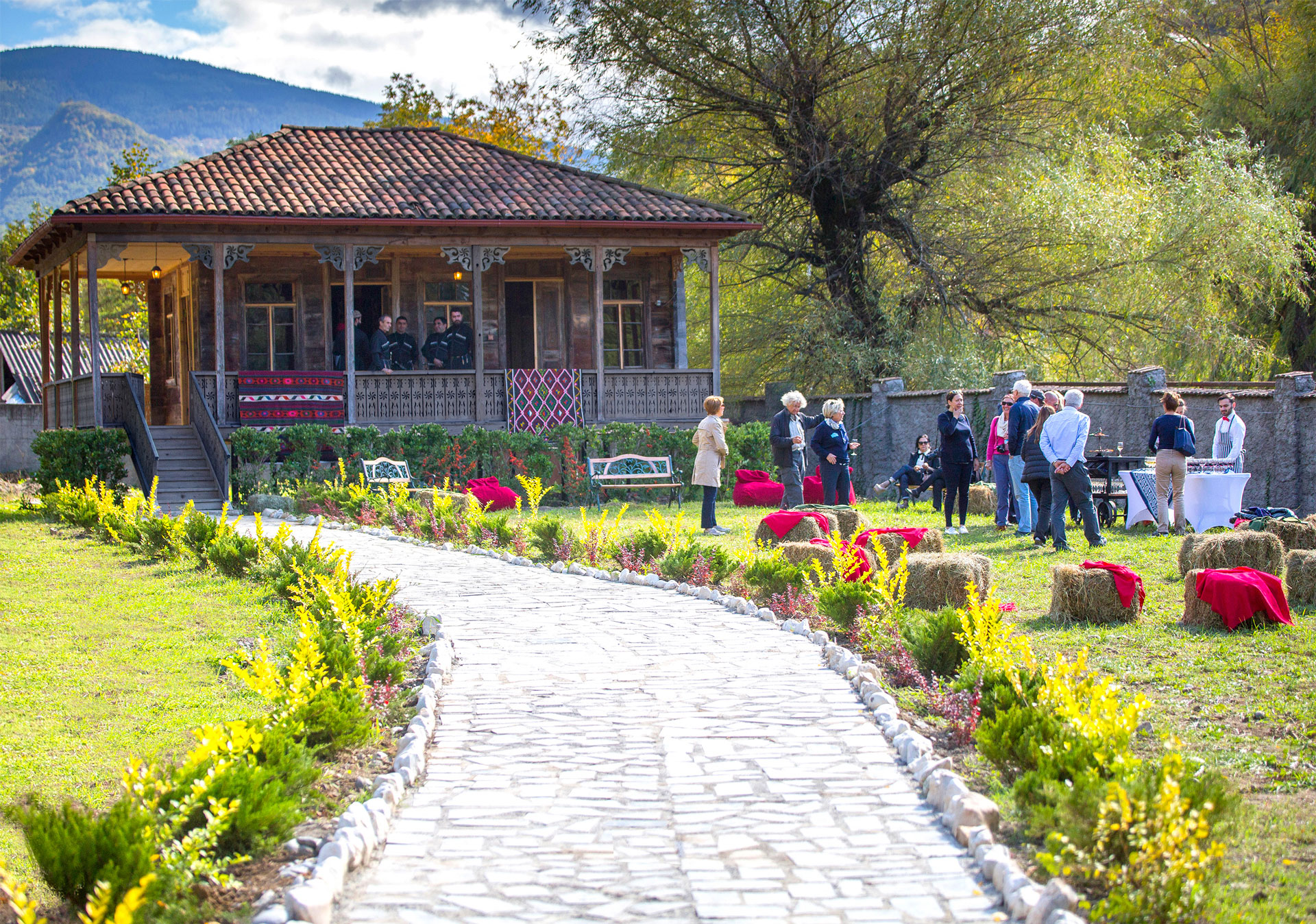 Garden in the world famous Royal Khvanchkara vineyard.
