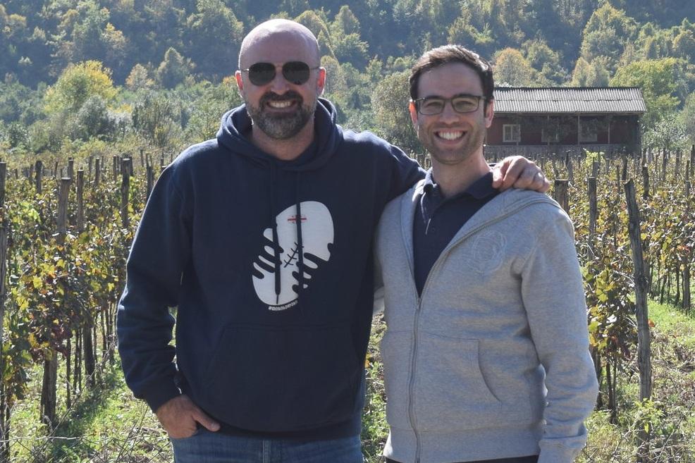 gvino UK owners in a vineyard in Racha Georgia.