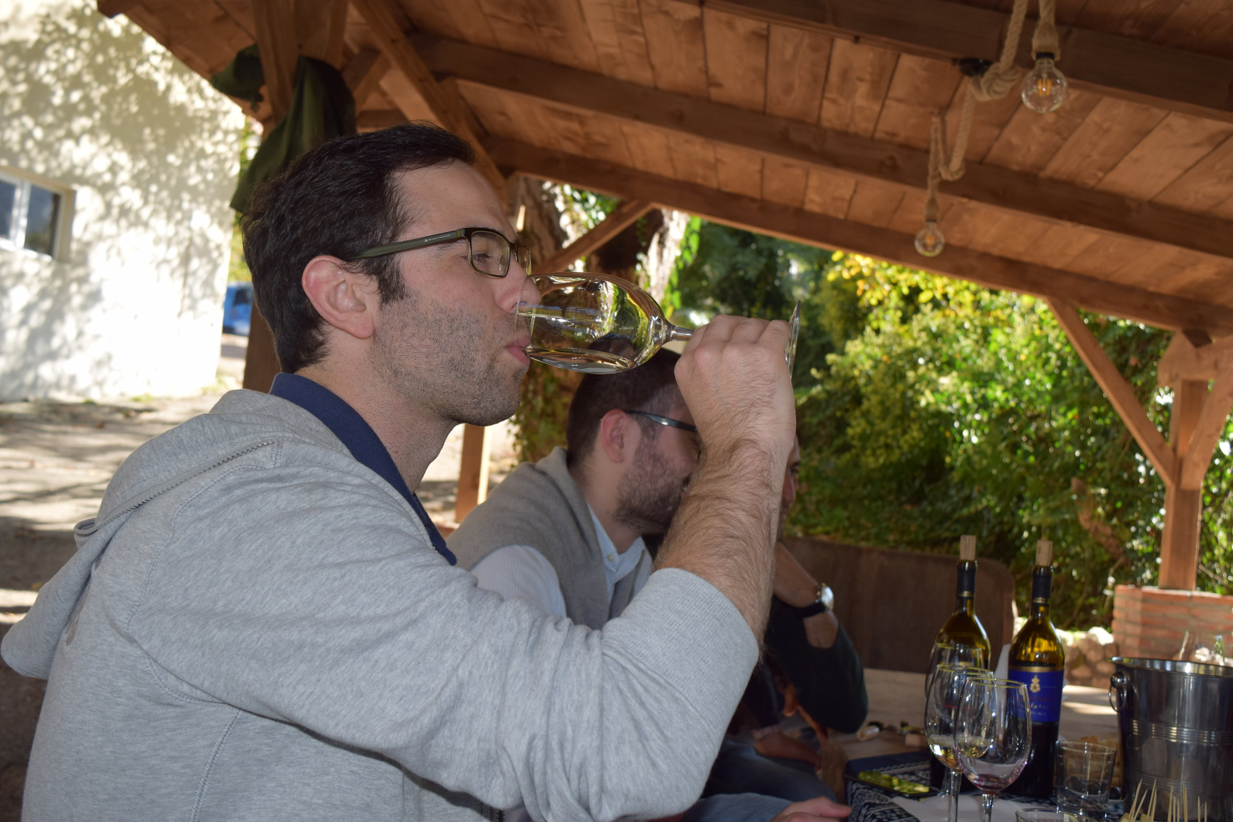 Trying Tvishi, which is a delicious semi-sweet white wine made at Royal Khvanchkara in Georgia.