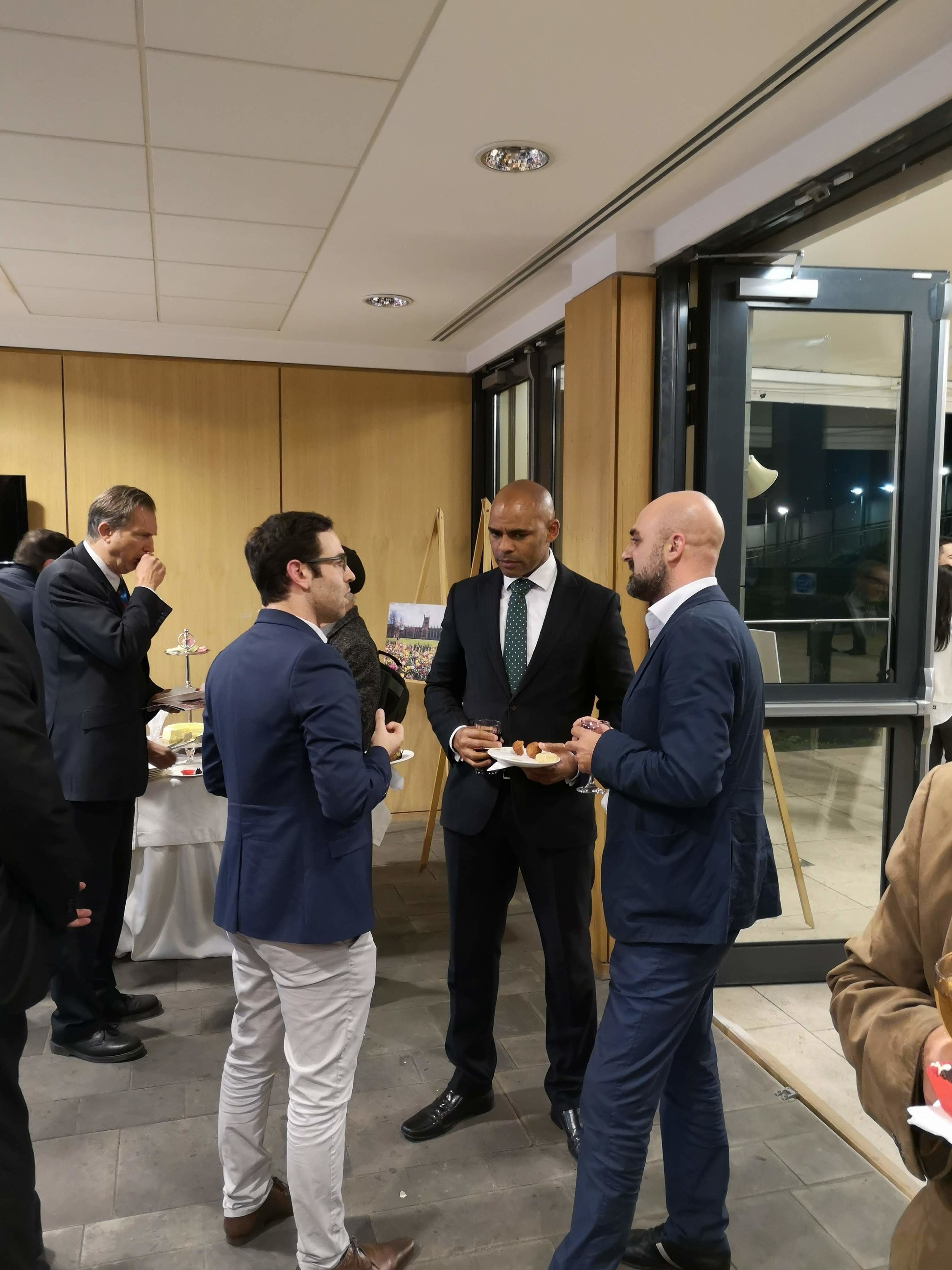 Anzor and Danilo talking with Bristol Mayor Marvin Rees at the British Embassy in Tbilisi, Georgia.