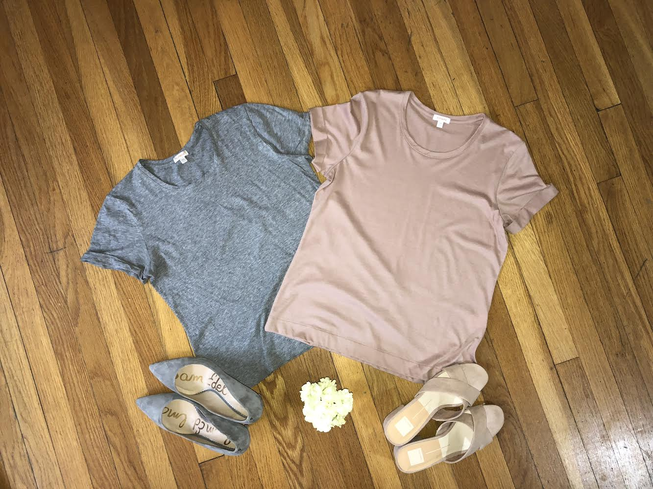 Pima Cotton Classic Crewneck Tee in Heather Gray and Soft Rose