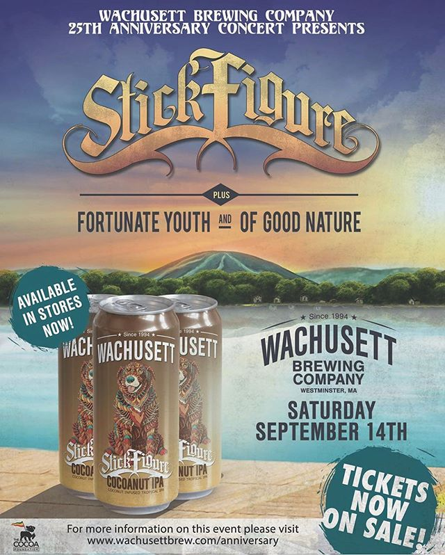 Headed to Mass to play some music and celebrate the release of our new Cocoanut IPA for our friends @wachusettbrew 25th Anniversary party. Only a few tickets remain, see you this Saturday!