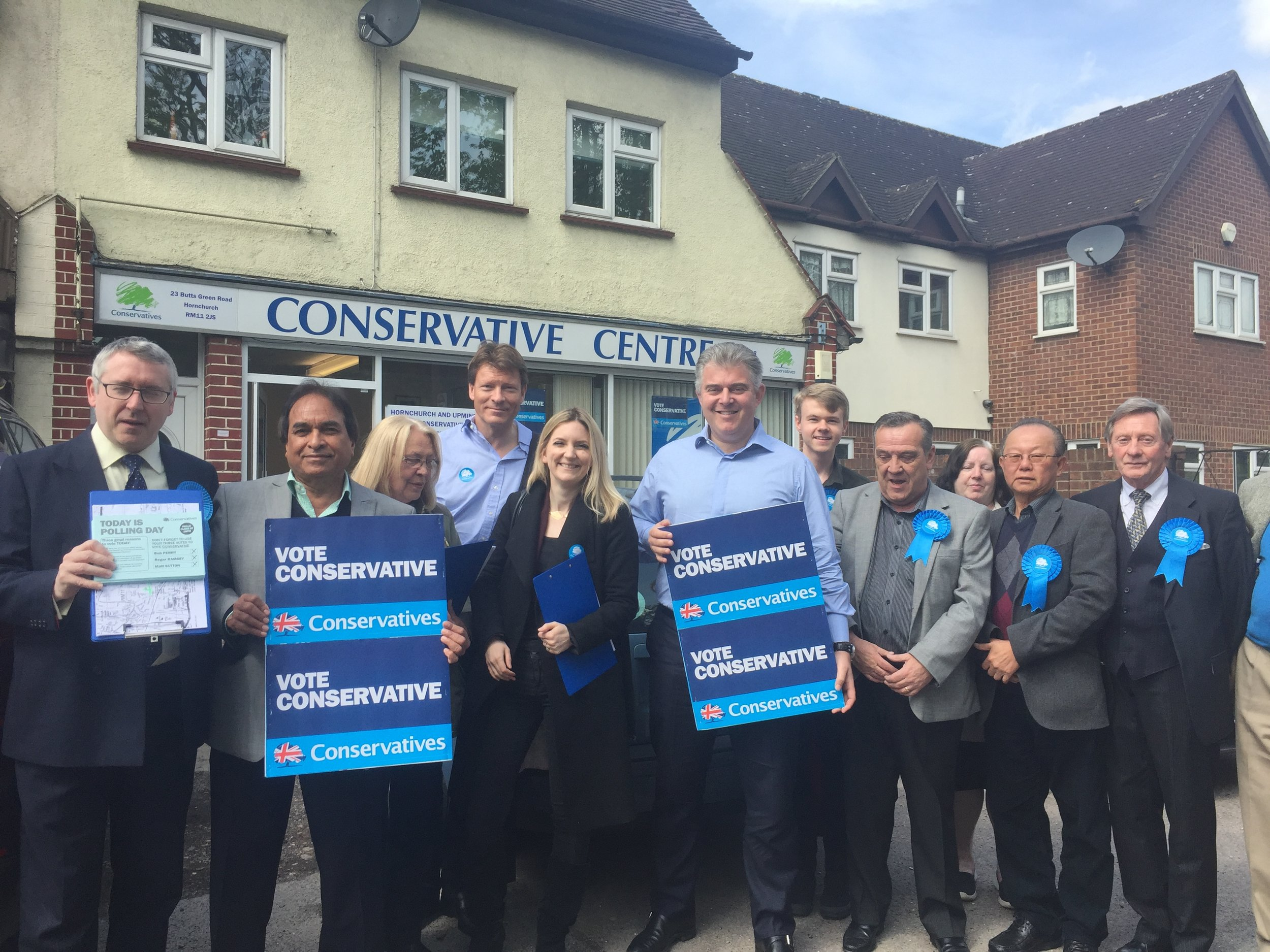 Great team in Emerson Park, Havering,with local MP Julia Lopez and Party Chairman Brandon Lewis