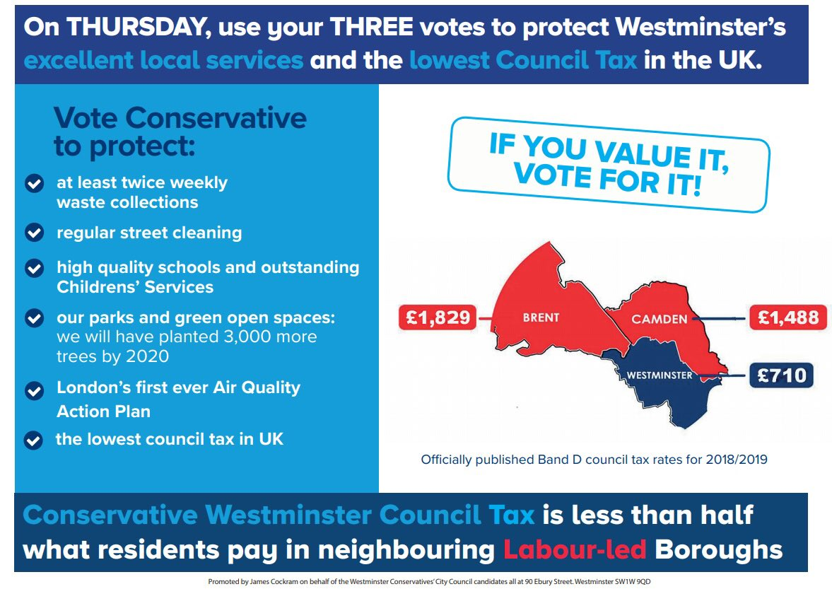 I handed out hundreds of these leaflets to Westminster residents on 3rd May
