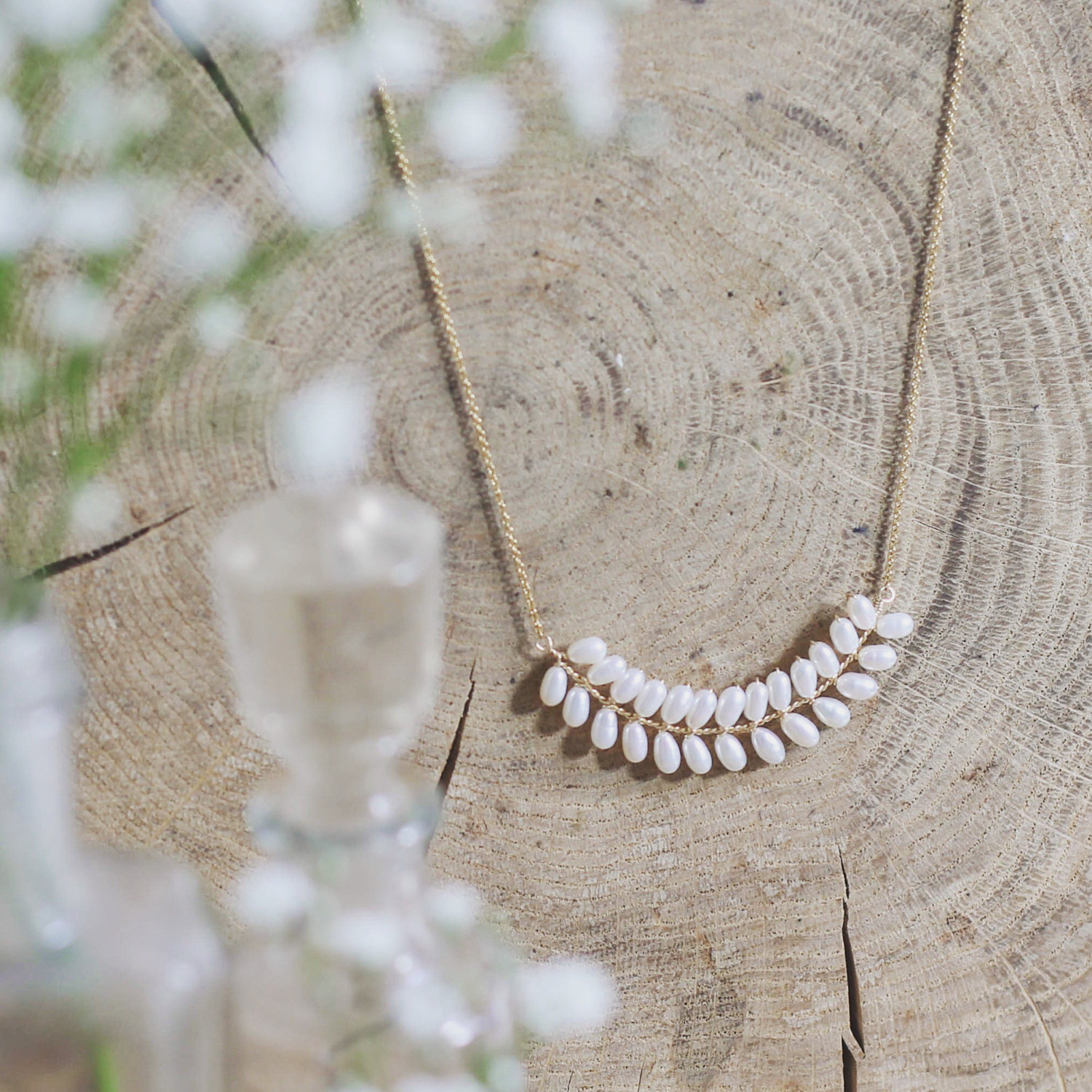 Bridal Necklace Gold Wedding Necklace Pearl Bridal Jewelry