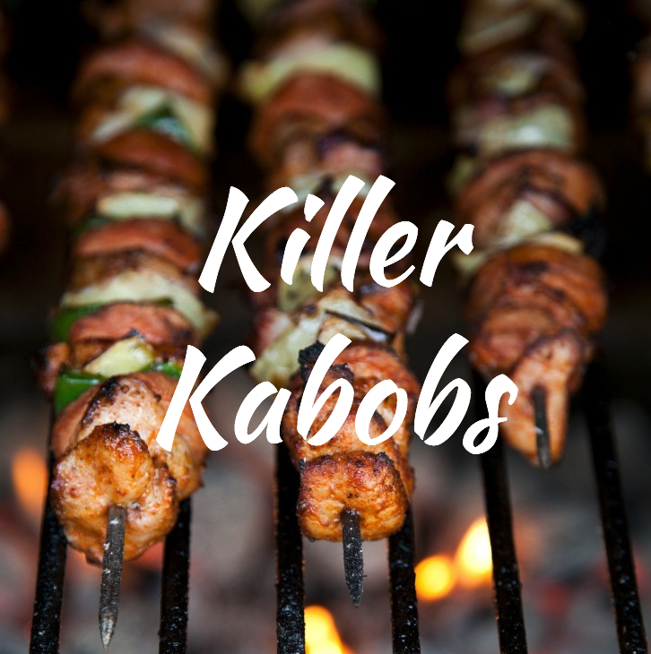 Any meat, any veggies, olive oil, salt, pepper. It does not get old and has endless options. Paleo, Keto + whatever-you're-watching-this-week-friendly. Get creative by adding avocado, greens or fruit to your classic peppers, onions and chicken skewers!