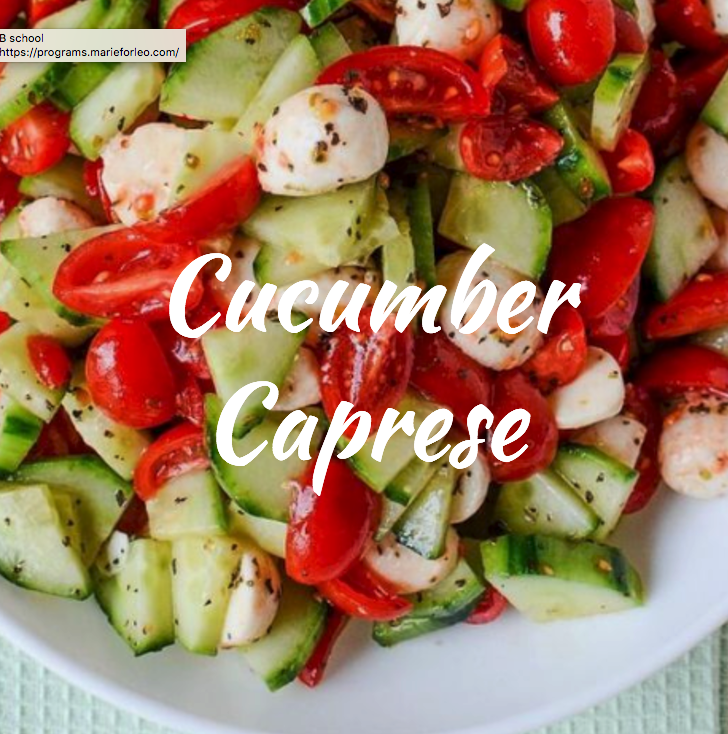 This is super simple and also light and tasty. You can make it an Italian inspired dish with balsamic and fresh mozz cheese or feta and lemon juice. Tomato, red onion, and cucumber…boom!