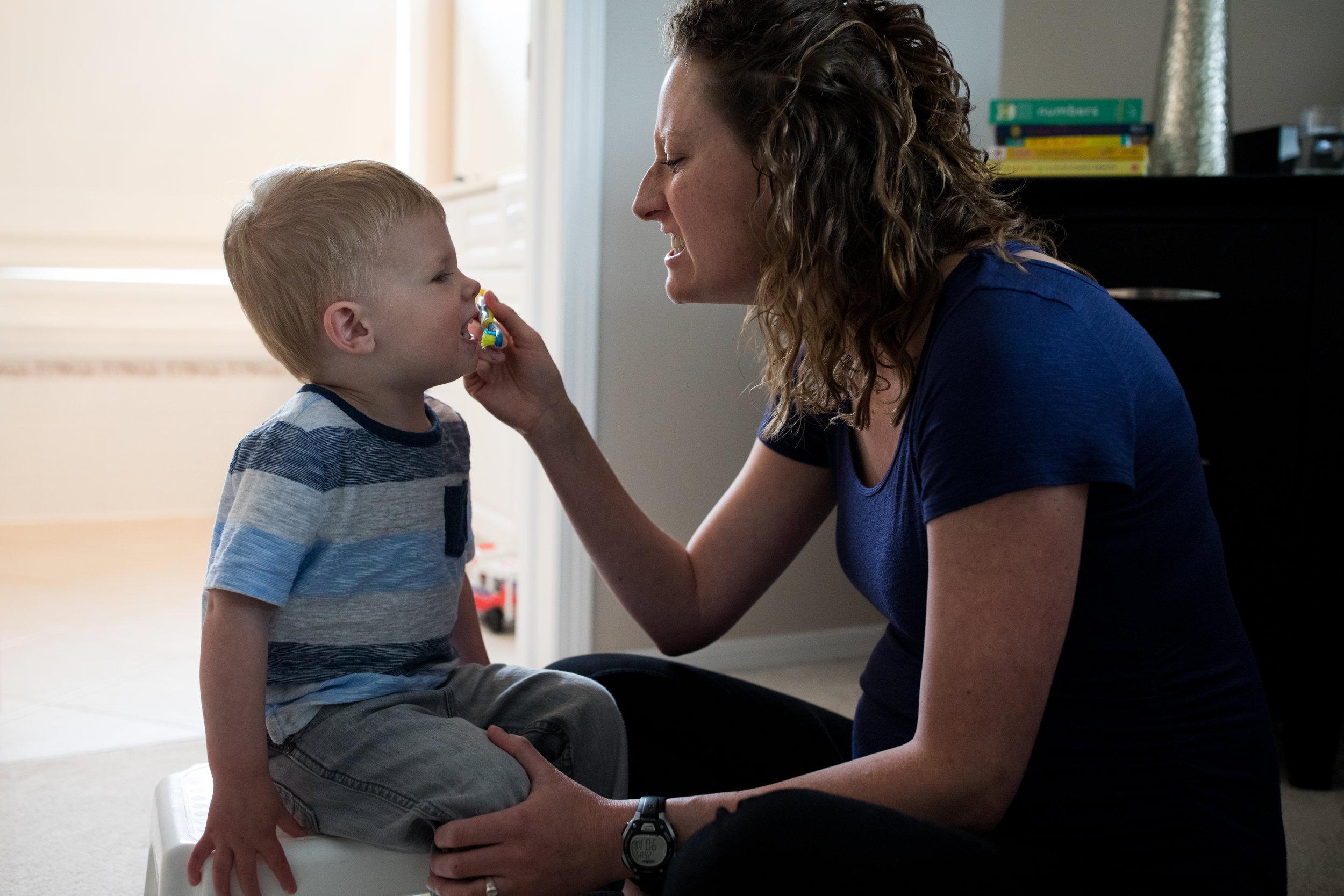 teeth brushing toddler photo