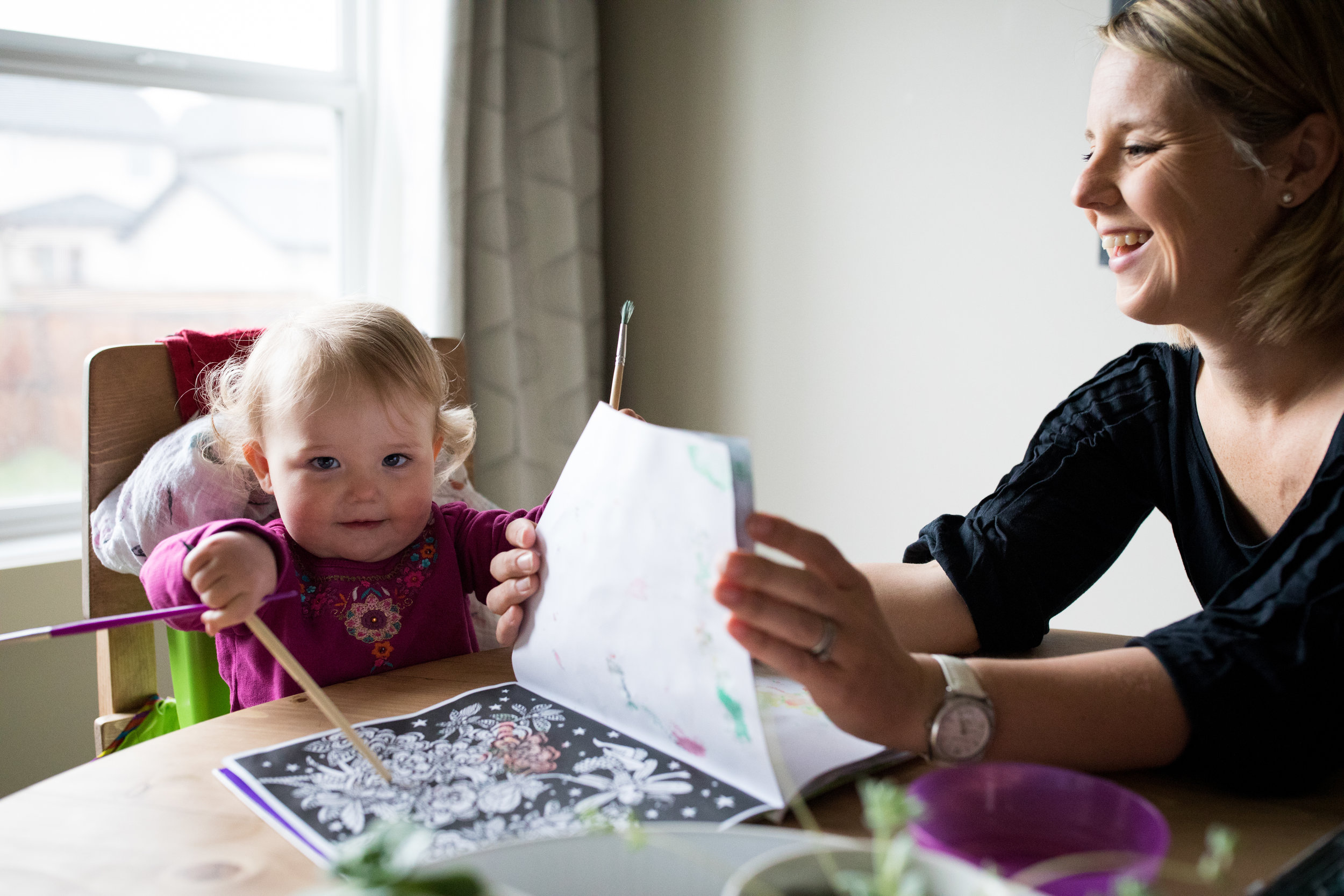 toddler art with mom
