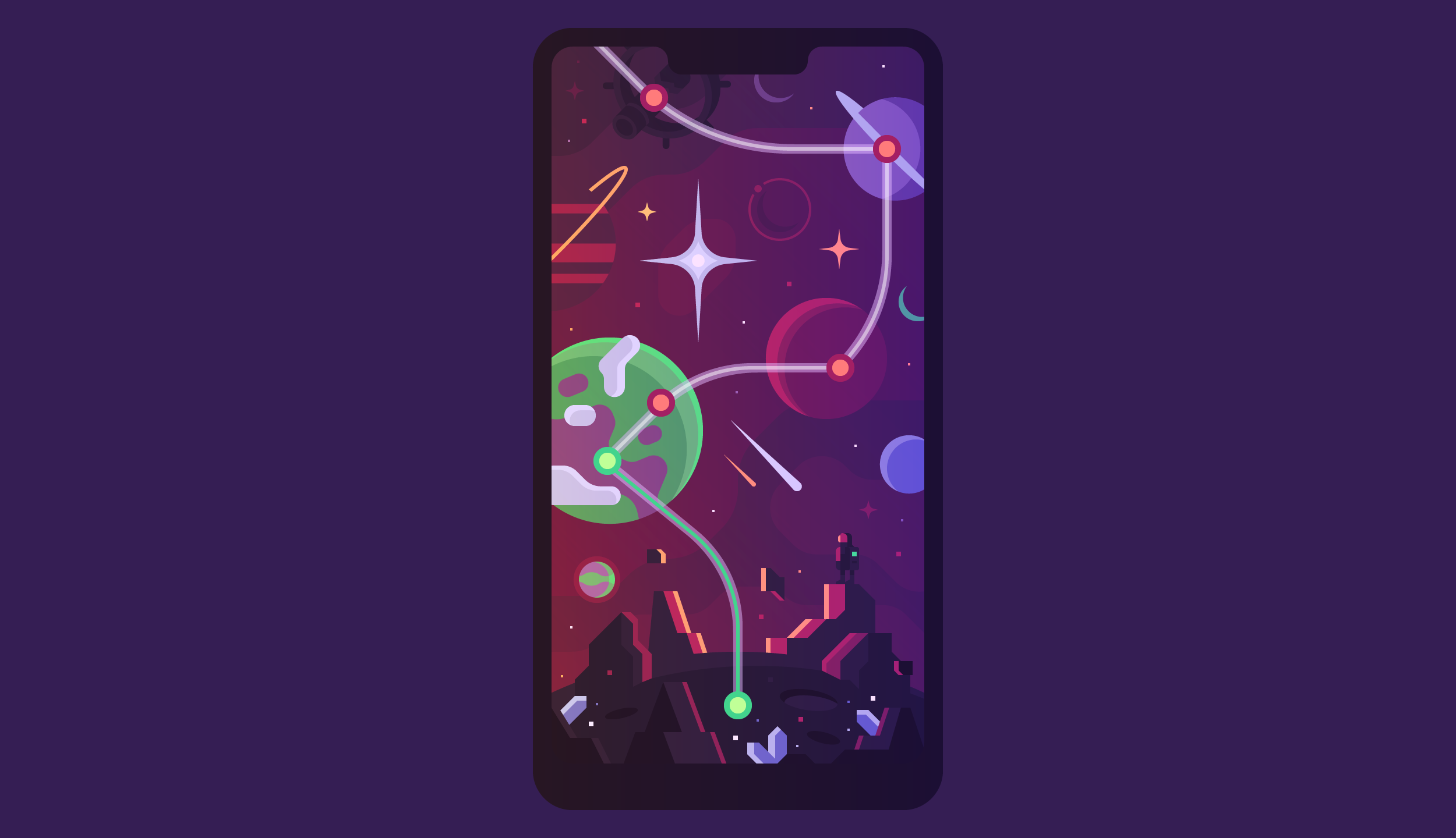 Dots space game map concept art by Canopy Design and Illustration.