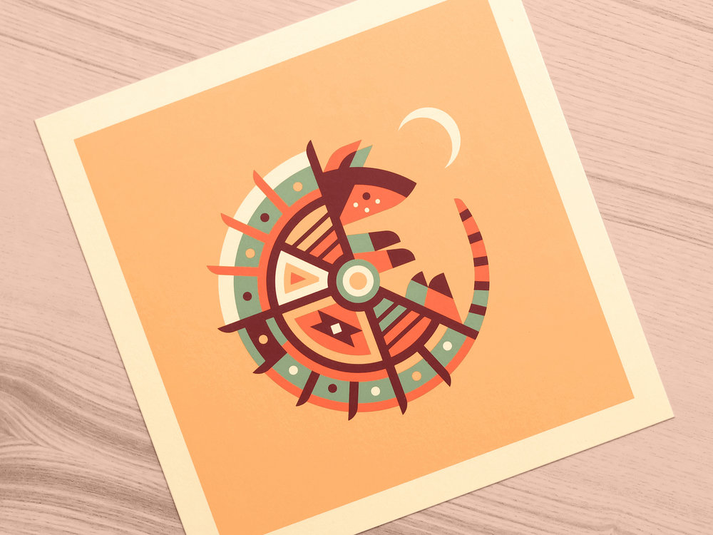 Armadillo - Totems print series by Canopy Design and Illustration