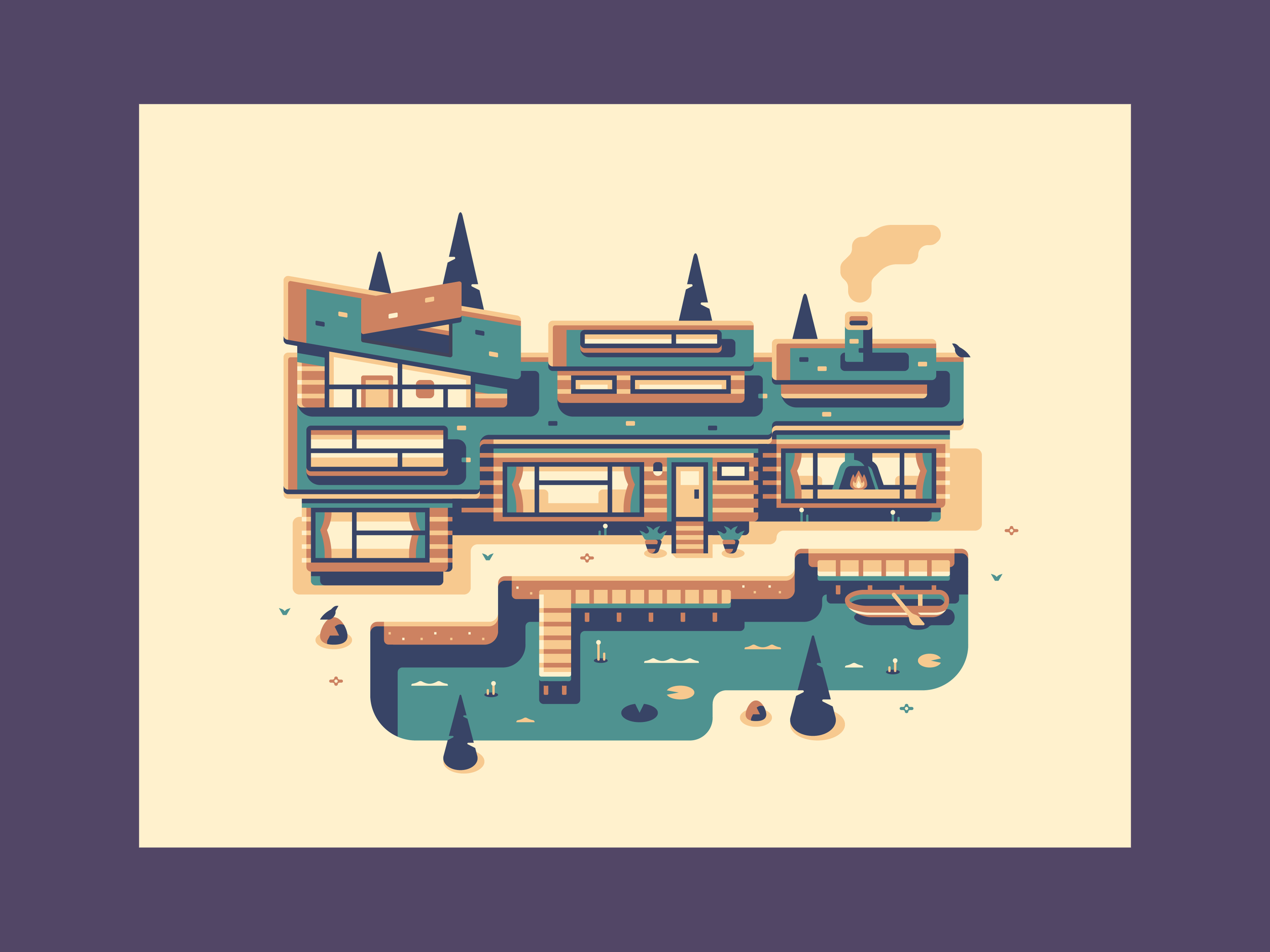 Lake - Modern Homes prints by Canopy Design and Illustration
