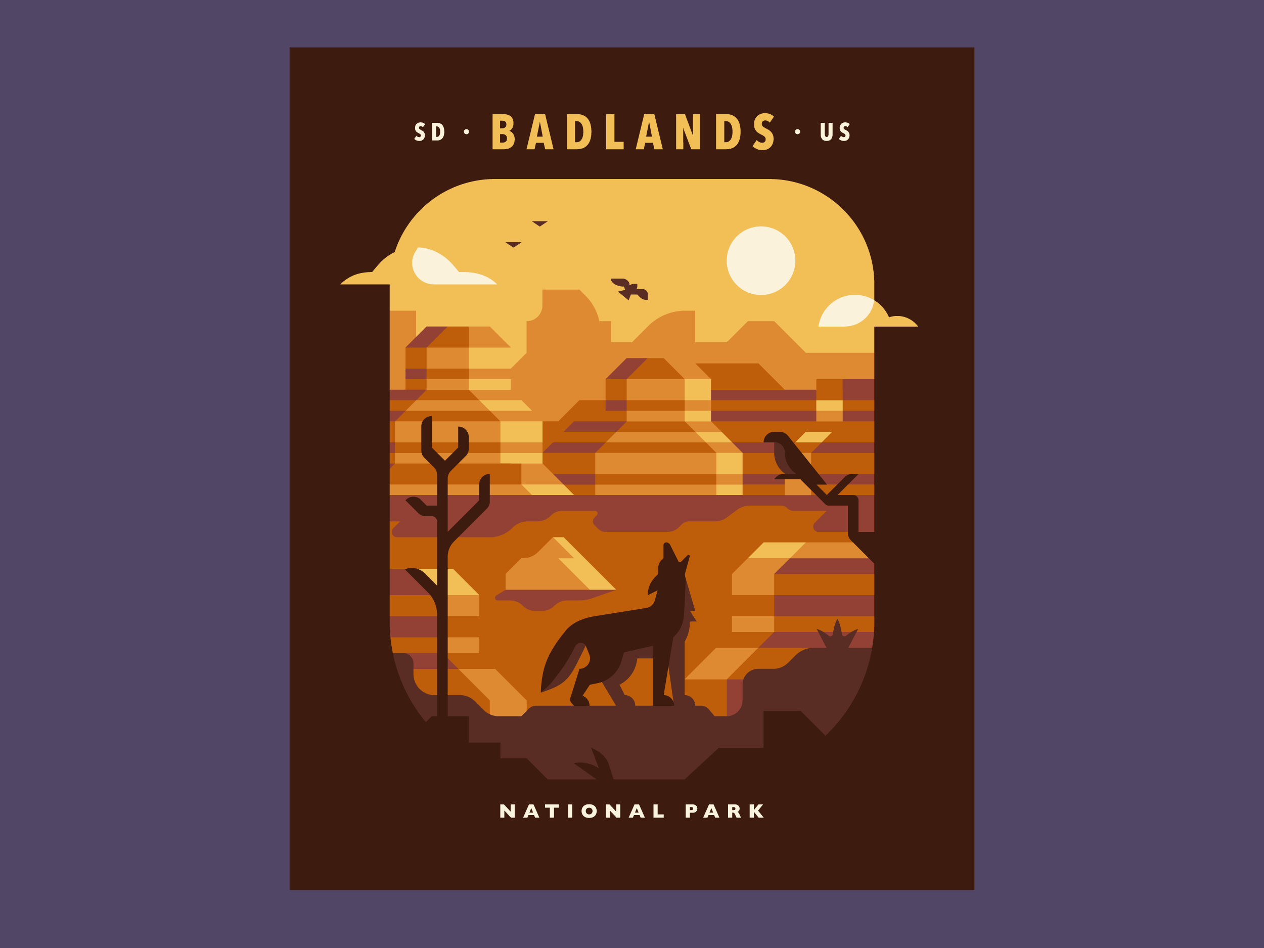 Badlands - National Parks prints and posters by Canopy Design and Illustration