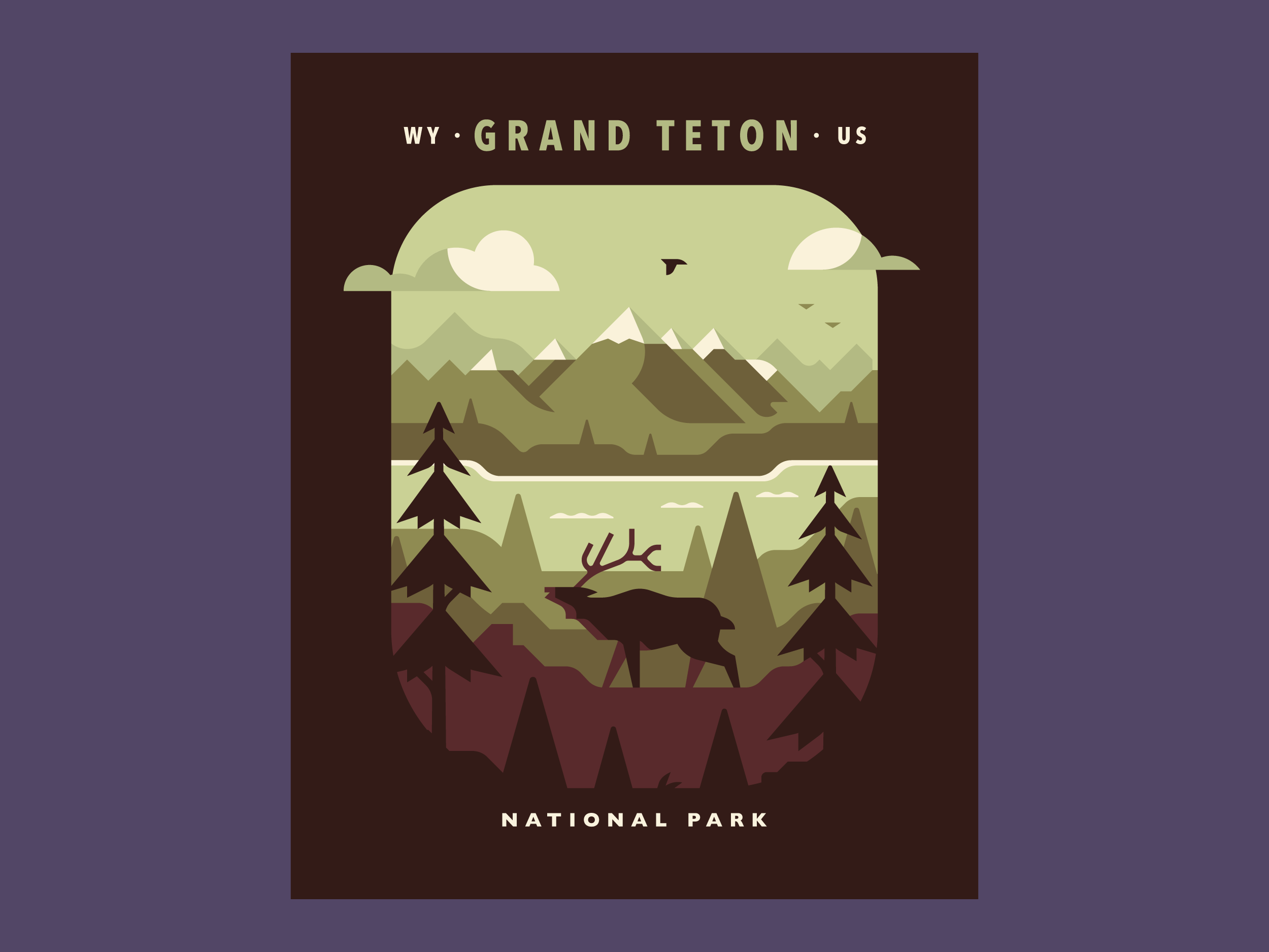 Tetons - National Parks prints and posters by Canopy Design and Illustration