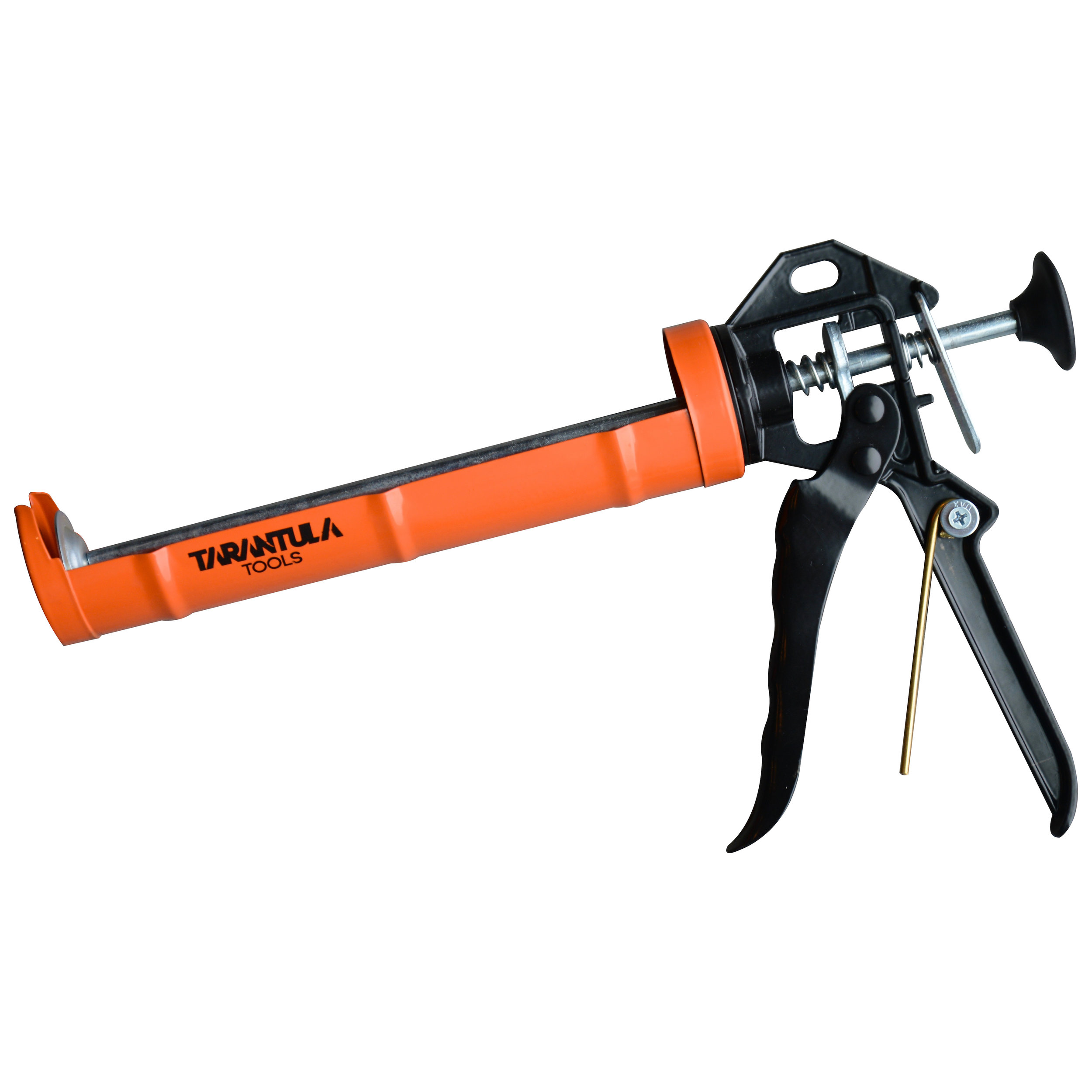 CAULK GUN -  TARANTULA TOOLS  A powder coated external finish along with galvanized internal working parts, allow our caulk gun to withstand corrosion and the test of time. Our handy seal breaker sits flush into the handle of the caulk gun and rotates on a nylon bushing, making it easy to dive into a new tube of material.