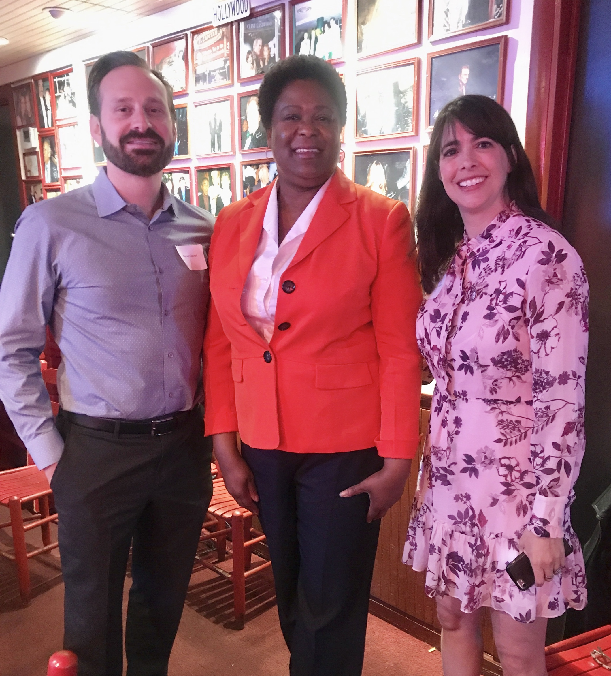 Atlanta City Council President Felicia A. Moore with City of Atlanta Urban Planner Daniel Calvert (left) and Isabel González Whitaker at a Friends of Sara J. González Park gathering at Nuevo Laredo in March.