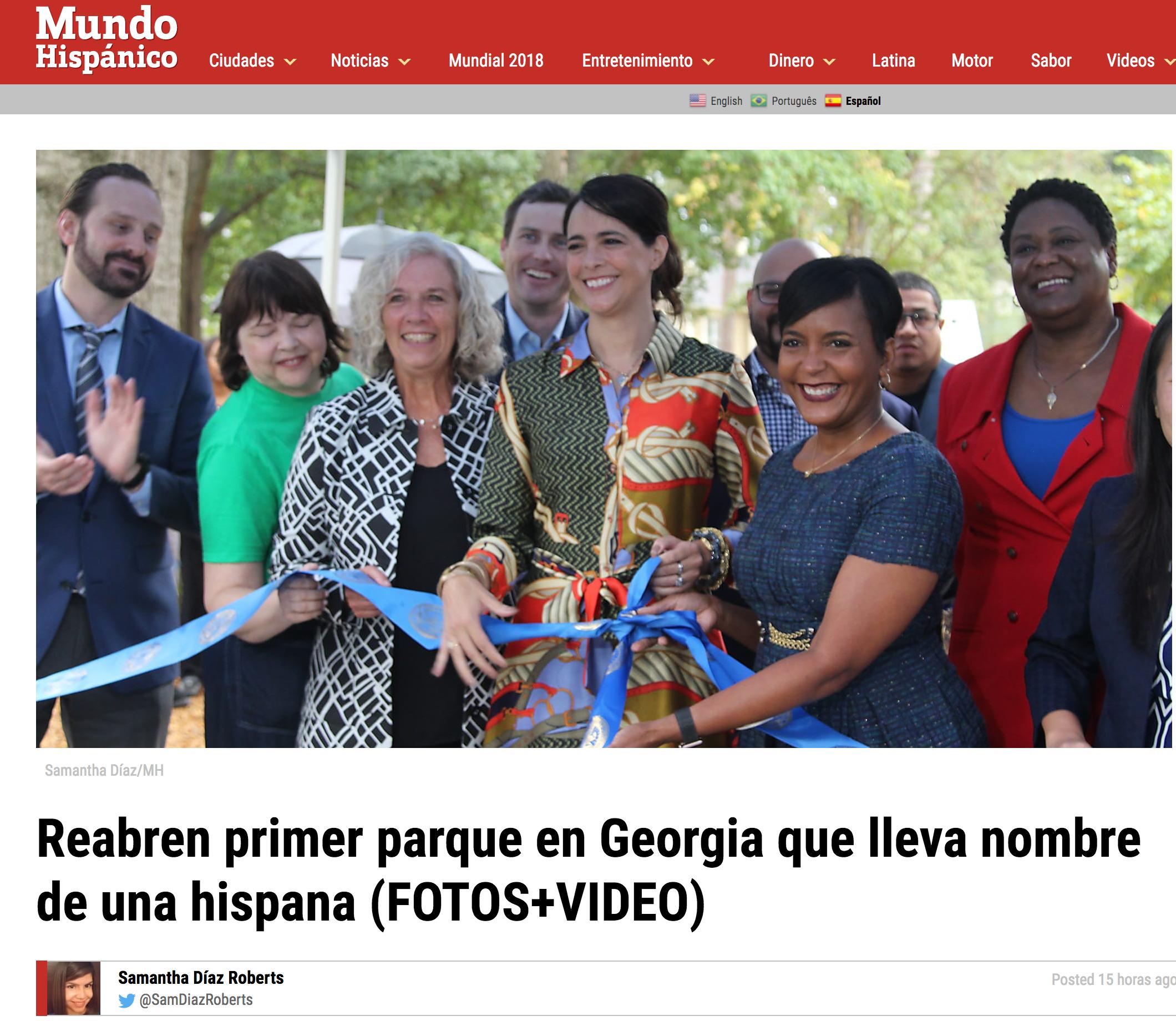 Reabren primer parque en Georgia que lleva nombre de una hispana , October, 2018, Mundo Hispánico