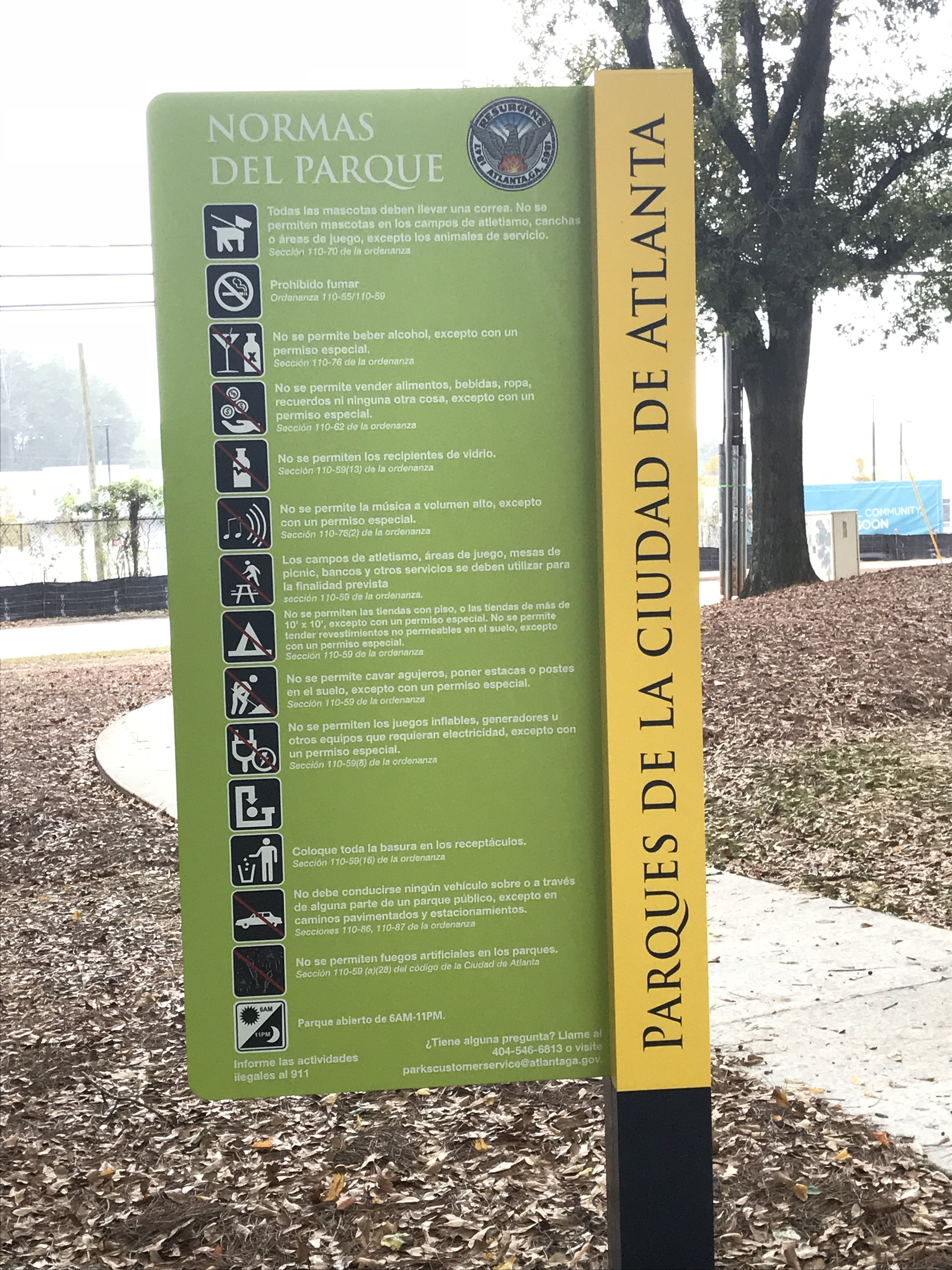 The only park in Atlanta to feature signage in English and Spanish.
