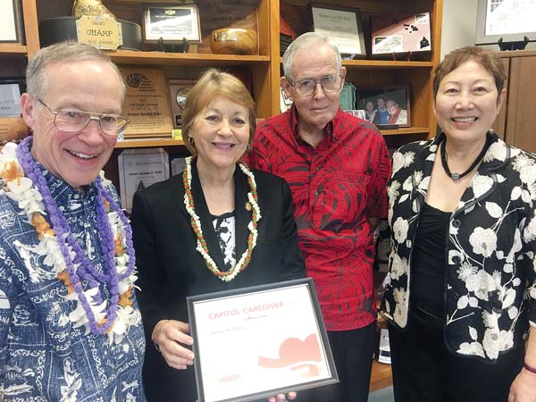 "In recognition of her integral work to support family caregivers in Hawaii, AARP named Maui state Sen. Roz Baker as a 2017 ""Capitol Caregiver"" in recognition of her integral work to support family caregivers in Hawai'i.  (April 15, 2018)"