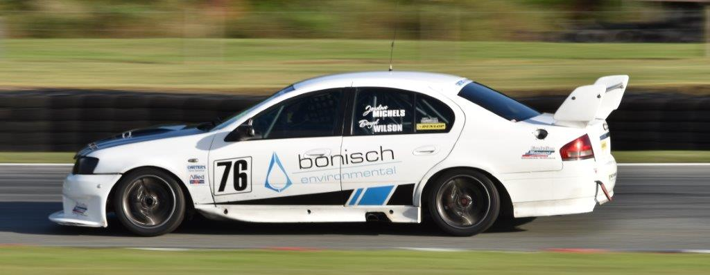 Pic: Boyd Wilson and Jordan Michels on their way to victory in the A1 Auto Services 1 Hour Race at Teretonga Park. Photo: Dave Loudon Photography