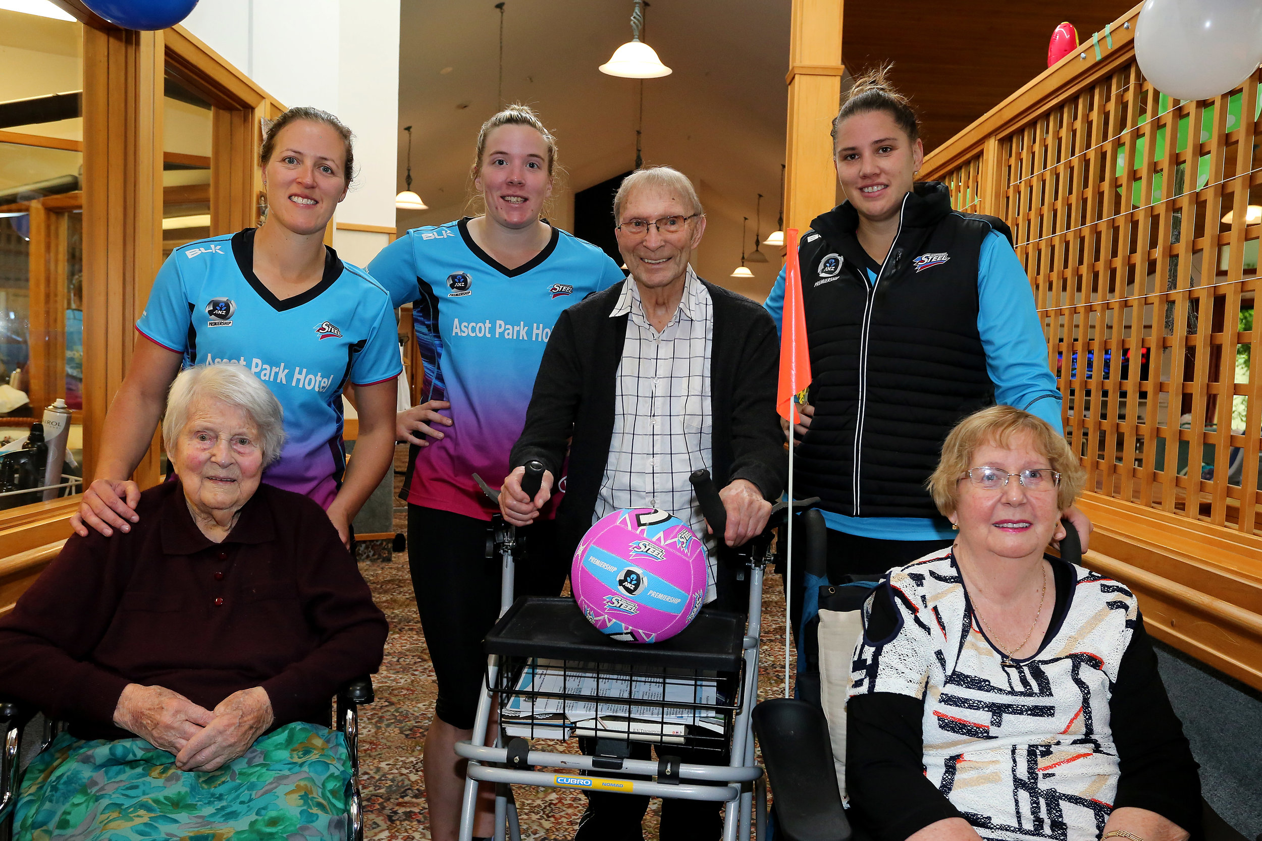Caption: Steel players Wendy Frew, Abby Erwood and Te Huinga Reo Selby-Rickit catching up with Enliven residents, from left, Rene Nicol, Jack Macdonald and Dorothy Ryan. Photo: Dianne Manson