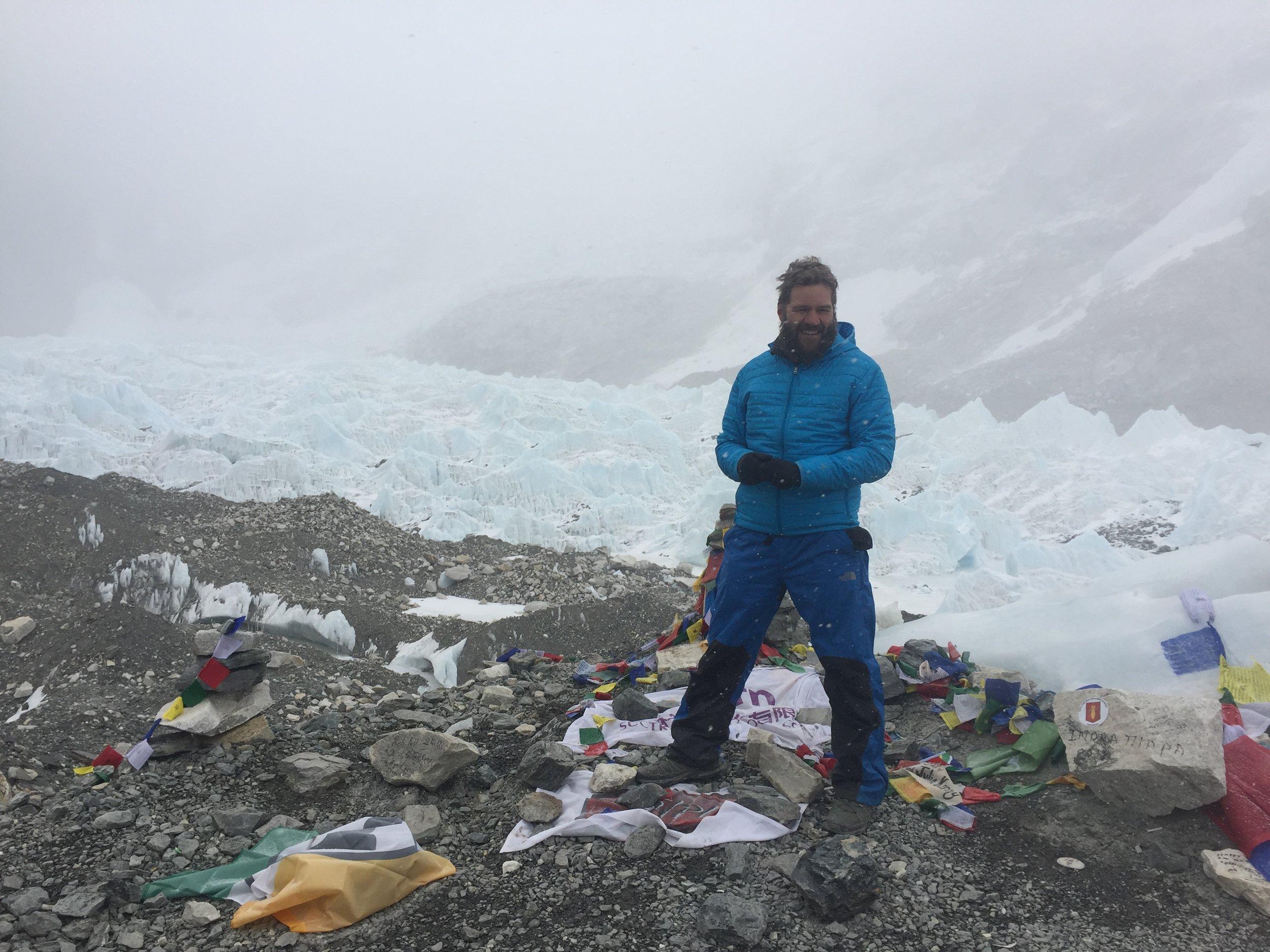 Shannon Goldsmith at Everest Base Camp on the Khumbu Glacier